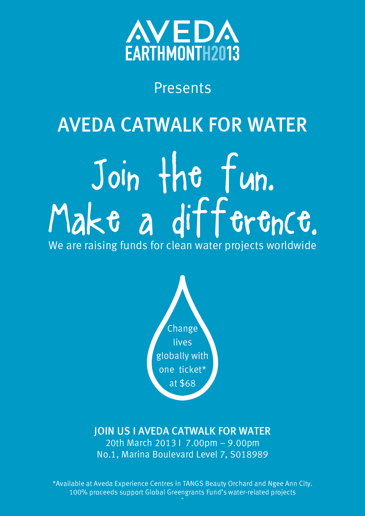 Invitation Aveda Catwalks Water Event All